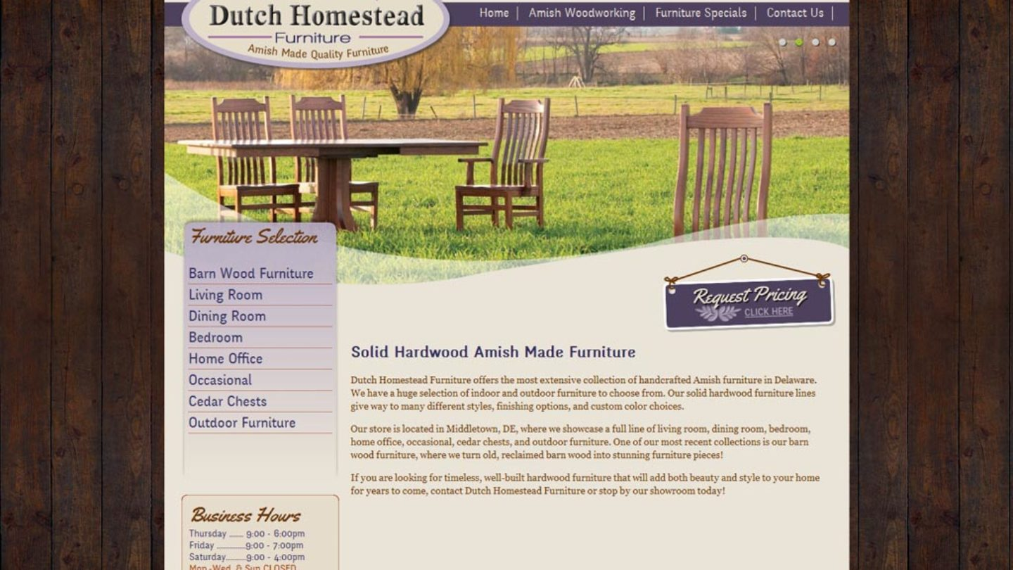 Web Design Middletown De Dutch Homestead Furniture