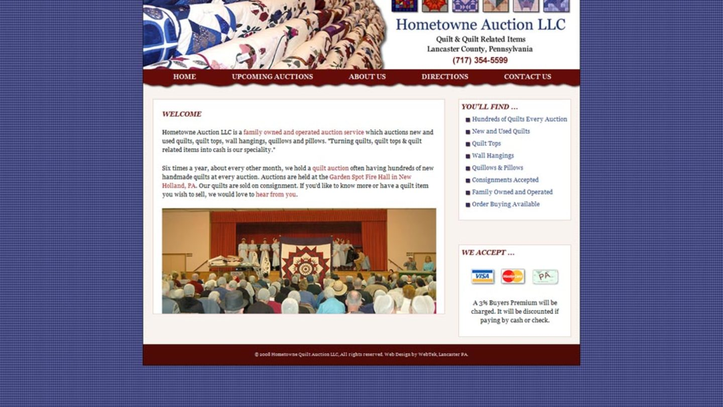 Web Design Blue Ball Pa Hometowne Quilt Auction