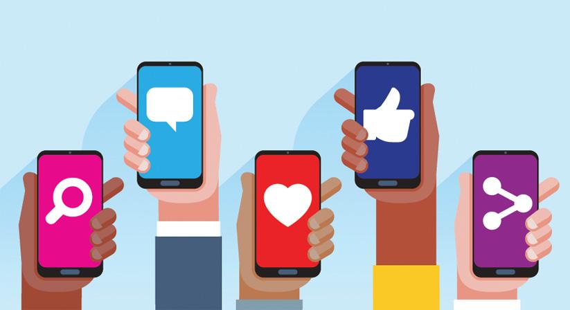 Social media icons on smart phones
