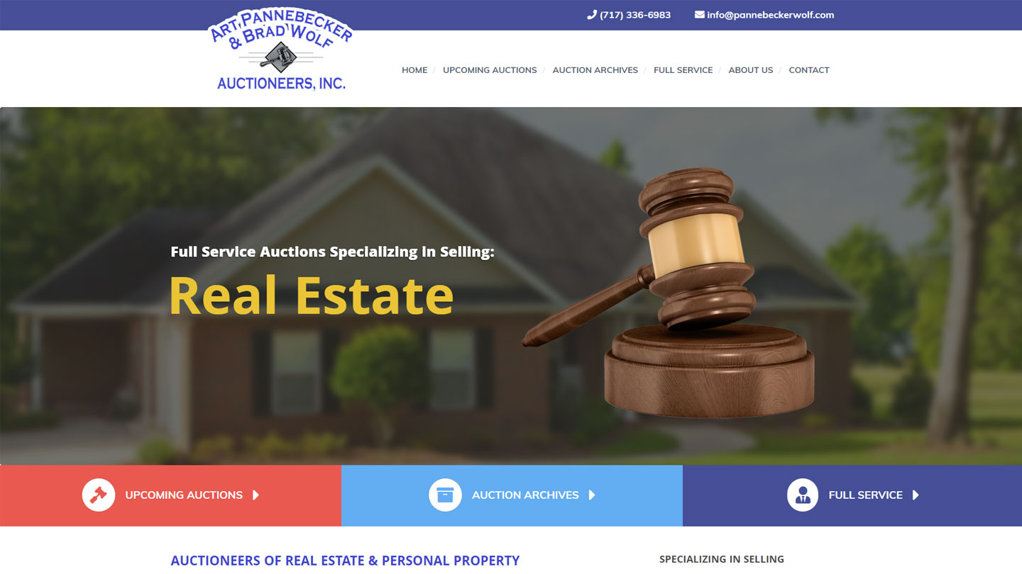Website for real estate auctioneer