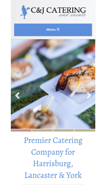Mobile friendly website for wedding caterer