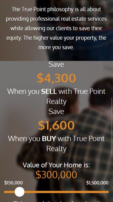 Real estate website design for TruePoint Realty