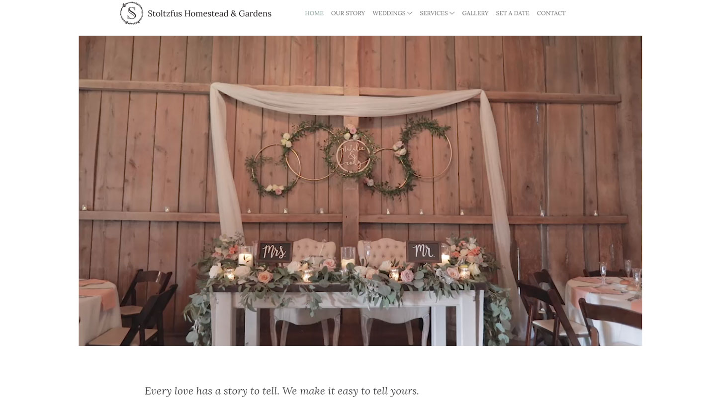 Wedding venue website designed in Lancaster PA
