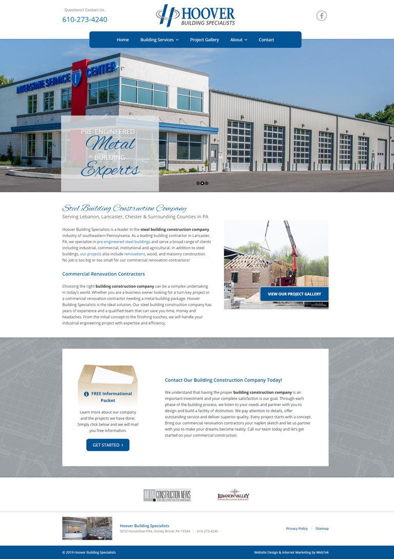 Commercial Contractor Website Layout
