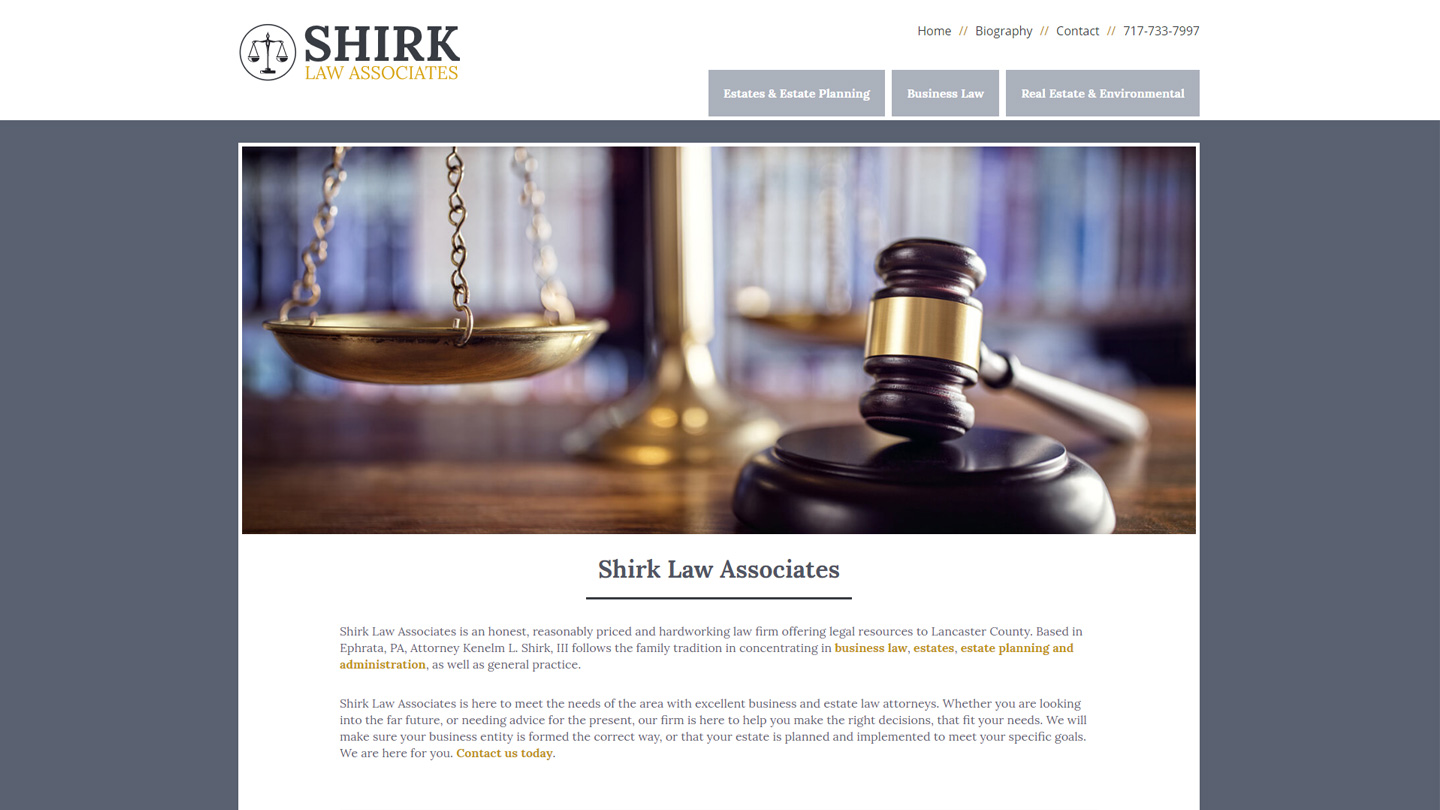 Shirk Law web design ideas