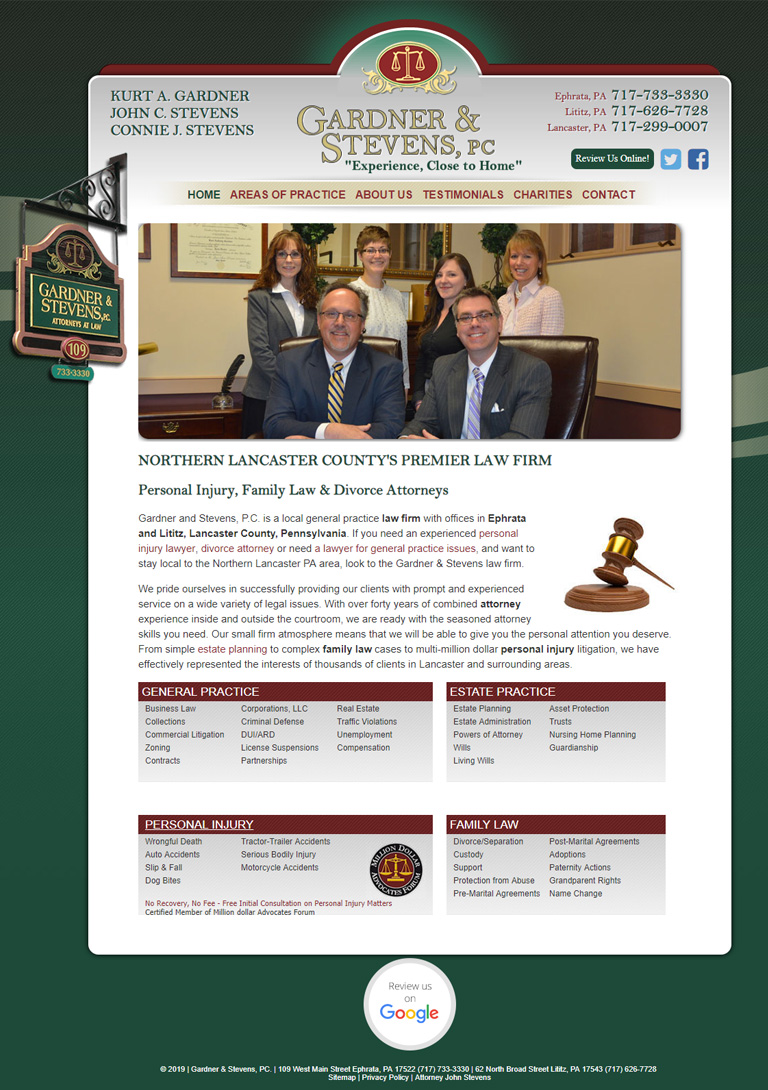 Website for law firm in Lancaster PA