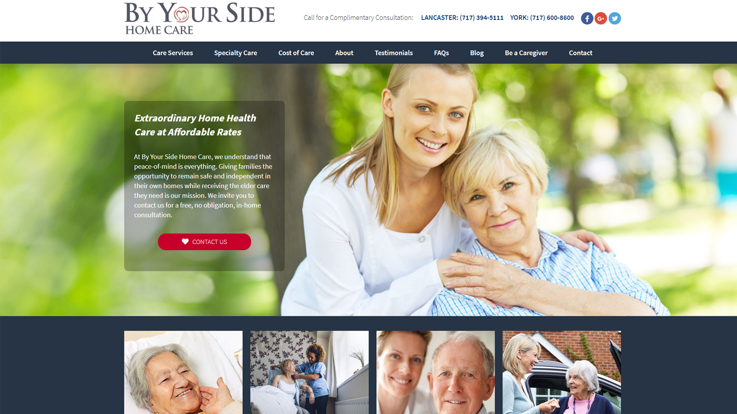 Website for in-home healthcare company