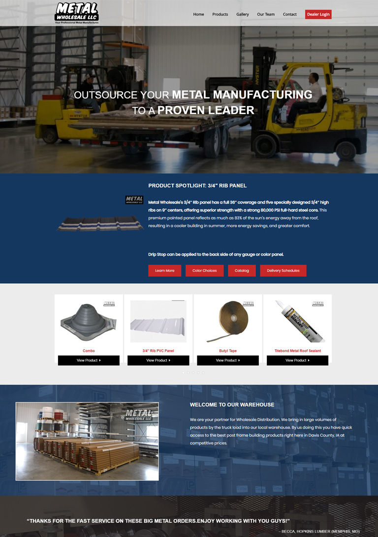 Responsive site for manufacturing business