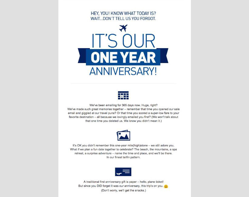 Personalized email blast for anniversary